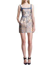 J. Mendel Sleeveless Metallic Cloque Mini Dress - Lyst