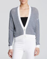 Theory Cardigan - Crispness Navy And White - Lyst