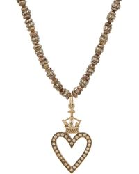 Devon Page Mccleary - Diamond Bead Cutout Heart Pendant Necklace - Lyst