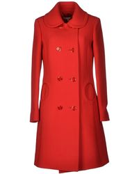 Michael Kors Red Coat - Lyst