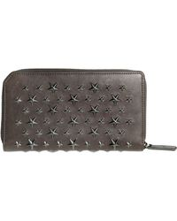 Jimmy Choo Stars Studded Leather Zip Around Wallet gray - Lyst