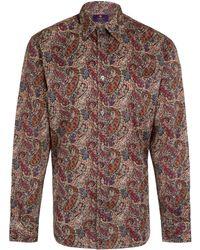 Liberty - Men'S Brown Burton Print Cotton Shirt - Lyst