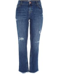River Island Mid Wash Raw Hem Stevie Straight Jeans blue - Lyst