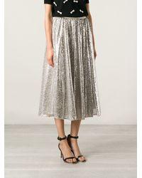 Alice + Olivia Beige Sequinned Skirt - Lyst