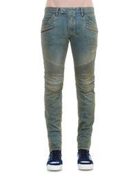 Balmain Oily Skinny-Fit Biker Jeans - Lyst
