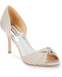 Badgley Mischka Jennifer Rhinestone-Embellished Peep Toe D'Orsay Pumps silver - Lyst