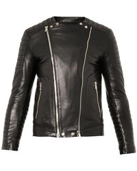 Balmain Classic Leather Biker Jacket - Lyst