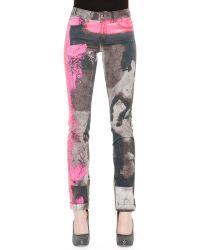 Just Cavalli Spray-paint Printed Slim Jeans - Lyst