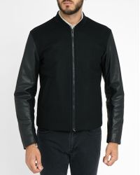 Sandro | Black Woollen Baseball Jacket With Flipper Leather Sleeves | Lyst