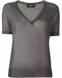 DSquared2 Gray Sheer Sweater - Lyst