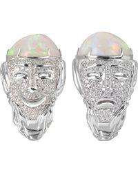 Bernard Delettrez - Drama Masks Wopale and Diamonds Gold Pave Ring - Lyst