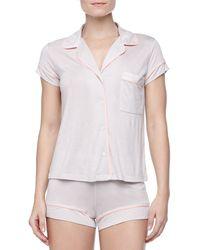 Eberjey Gisele Boxershort Jersey Pajama Set Pearl Graycoral Pearl Grey Small04 - Lyst