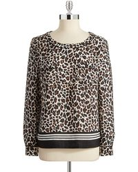 Anne Klein Ruched Sleeved Cardigan animal - Lyst