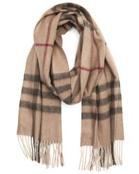 Burberry Smoked Trench Check Cashmere Giant Icon Fringe Detail Scarf - Lyst