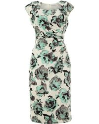 Shubette Rose Print Cap Sleeve Dress - Lyst