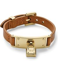 Michael Kors Leather Padlock Wrap Bracelet - Lyst