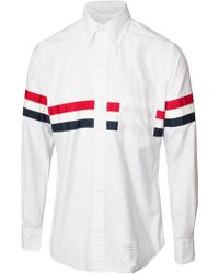 Thom Browne Classic Oxford Stripe Shirt Whitered Blue - Lyst