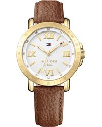 Tommy Hilfiger Womens Camel Leather Strap Watch 38mm - Lyst