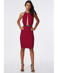 Missguided Ailsa Crepe High Neck Chain Midi Dress Burgundy - Lyst
