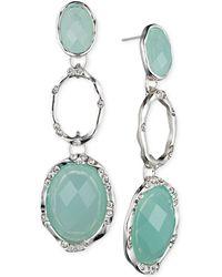 Jones New York - Silver-Tone Oval Stone Triple Drop Earrings - Lyst