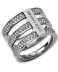 Michael Kors Pavé Tri Stack Ring silver - Lyst