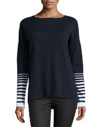 Vince Blue Stripe-sleeve Sweater - Lyst