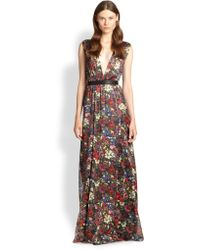 Alice + Olivia Triss Leather-Trim Maxi Dress - Lyst