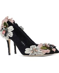 Dolce & Gabbana Floral-Appliqué Cotton-Blend Pumps black - Lyst