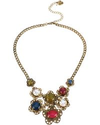 Betsey Johnson Multi Color Flower Charm Necklace - Lyst