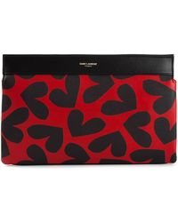 Saint Laurent Heart Print Clutch - Lyst