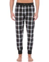 Diesel Checked Cotton Pyjama Bottoms - For Men black - Lyst