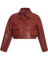 Sonia Rykiel - Cropped Printed Leather Jacket - Lyst