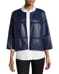Lafayette 148 New York Three-quarter Sleeve Leather Jacket Topper - Lyst