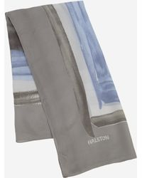 Halston Squared Printed Scarf gray - Lyst