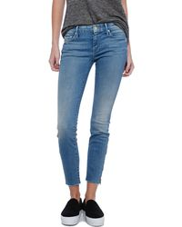 Mother Cropped Zippered Frayed Jeans - Lyst