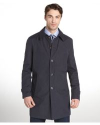 Tommy Hilfiger Navy Brushed Cotton Blend Finn Coat - Lyst