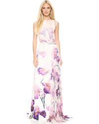Nina Ricci Floral Gown Lilac Multi - Lyst