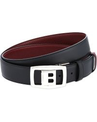 Bally Reverse Buckle Leather Belt Black Red - Lyst
