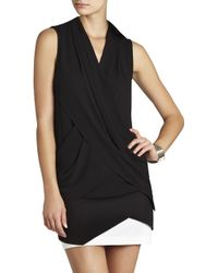 BCBGMAXAZRIA Doris Sleeveless Draped-crisscross Tank - Lyst