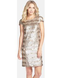Vera Wang Gold Paillette and Sequin Shift Dress - Lyst
