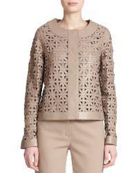 ESCADA Leather Lattice-Weave Jacket - Lyst