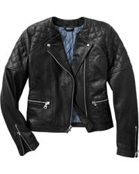Gap Quilted Leather Moto Jacket - Lyst