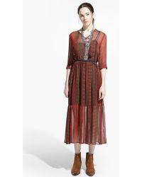 Mango Printed Chiffon Dress - Lyst