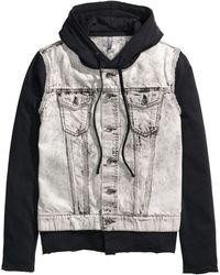H&M Denim Jacket With A Hood black - Lyst