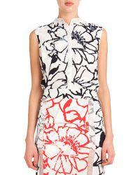Nina Ricci Sleeveless Button-Down Floral Blouse - Lyst