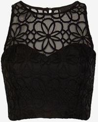 Nicholas Organza Lace Crop Bustier Black - Lyst