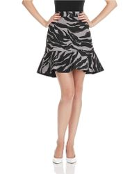 DKNY Animal Print Flared Hem Skirt - Lyst