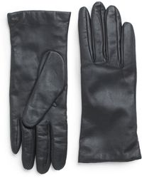 Portolano Cashmere-Lined Leather Tech Gloves black - Lyst