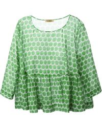 Peter Jensen Apple Print Flared Hem Top - Lyst