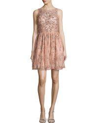 Aidan Mattox Lace Beaded Party Dress - Lyst